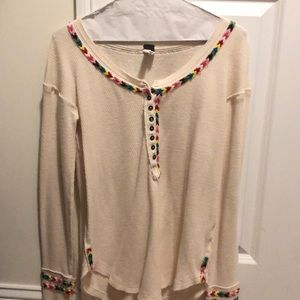 White/beige free people thermal top